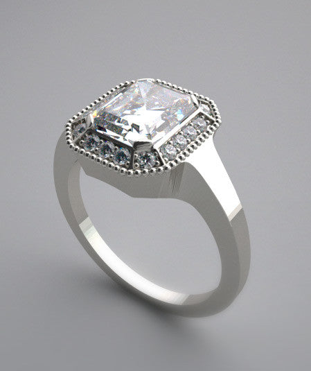 ENGAGEMENT RING SETTING WITH PETITE DIAMOND HALO ACCENTS ANTIQUE