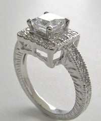 UNUSUAL HALO ACCENT PRINCESS CUT DIAMOND ENGAGEMENT RING SETTTING