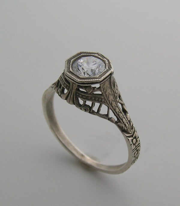 RING SETTING 14K GOLD FEMININE HIGH CROWN FILIGREE ART DECO ANTIQUE VINTAGE OLD WORLD STYLE RING SETTING