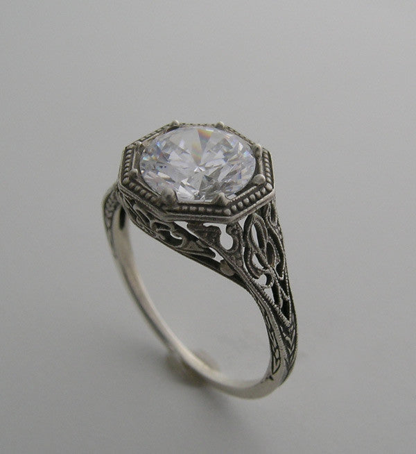 White Gold Filigree Engagement Ring Setting