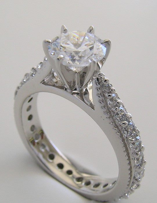 Gold Ring Setting with Diamond Eternity Shank