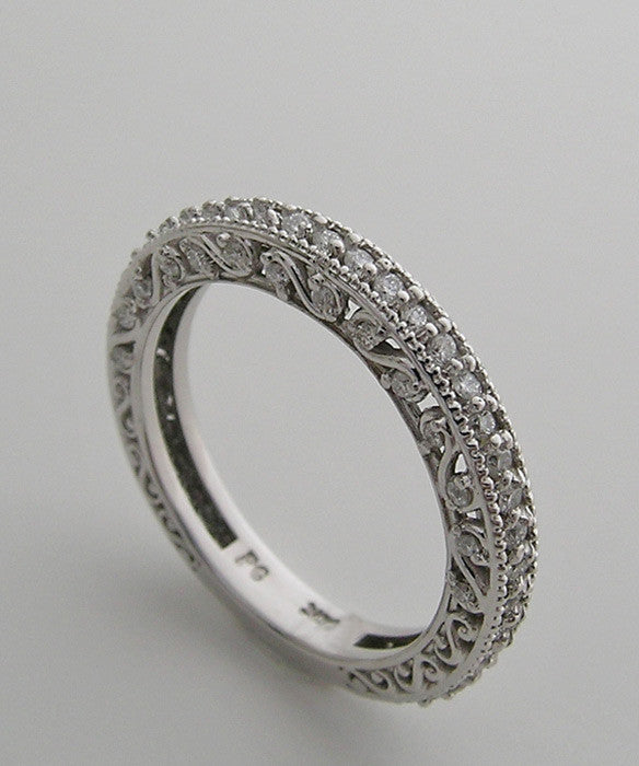 FEMININE DIAMOND ETERNITY BRIDAL WEDDING BAND RING WITH MIL GRAIN