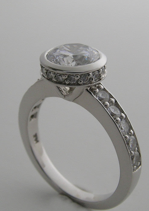 Platinum Bezel Ring Setting With Diamond Halo