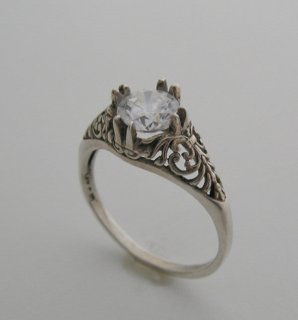 Gold ring setting 6.00 MM round stone filigree ring design