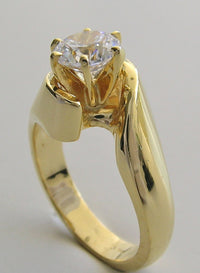 GOLD ENGAGEMENT RING SETTING SOLITAIRE SWIRL DESIGN