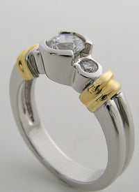 ENGAGEMENT RING SETTING FEMININE DETAILS TWO TONE GOLD