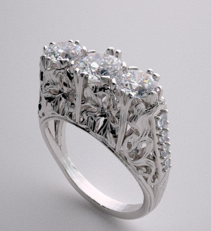 Three Stone Antique Style Engagement Ring Setting