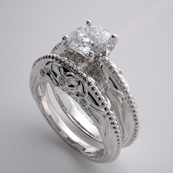 ORIGINAL NATURE INSPIRED  FLORAL DESIGN  DIAMOND BRIDAL WEDDING RING SETTING SET
