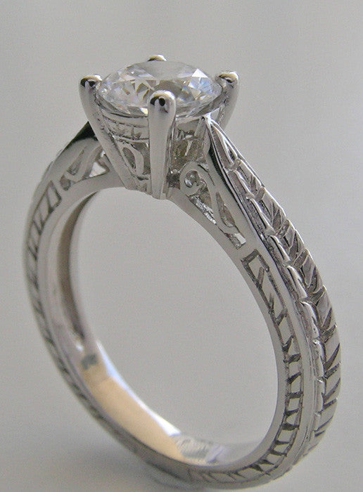 OUTSTANDING ENGAGEMENT RING SETTING WITH WHEAT DESIGN ENGRAVING