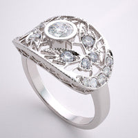 LACE FILIGREE DIAMOND ACCENT RING SETTING OR WEDDING BAND DECO  STYLE