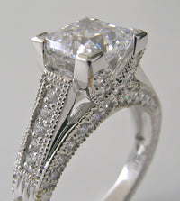 OUTSTANDING PRINCESS CUT DIAMOND RING SETTING