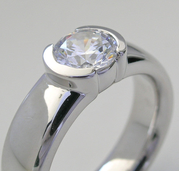 ELEGANT SEMI BEZEL SET DIAMOND ENGAGEMENT RING SETTING OR REMOUNT RING