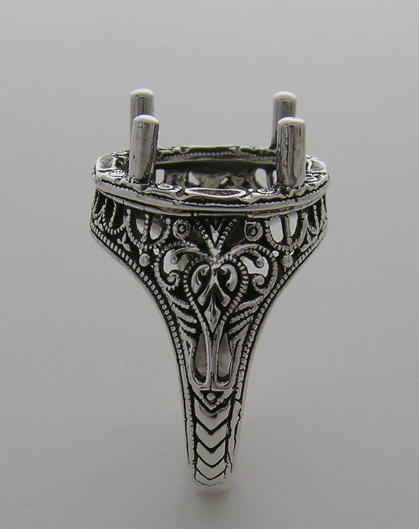 LARGE ANTIQUE STYLE FILIGREE 14K GOLD  RING SETTING