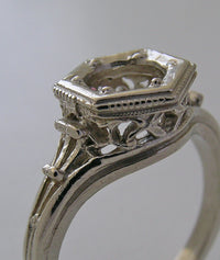 FILIGREE ANTIQUE ART DECO VINTAGE STYLE ENGAGEMENT RING SETTING