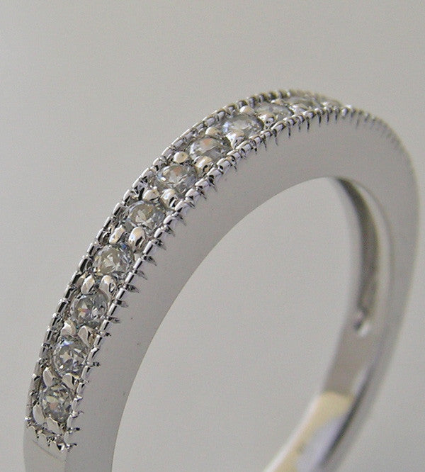 14K White Gold Wedding Ring with Mil Grain Details