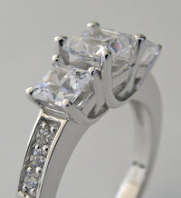 CHARMING SQUARE CUT THREE STONE RING SETTING