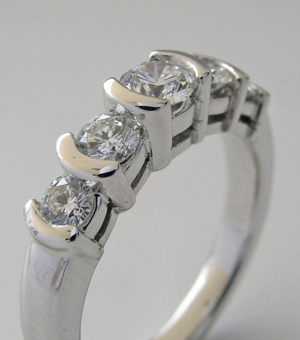 14K White Gold Stack Diamond Ring Band