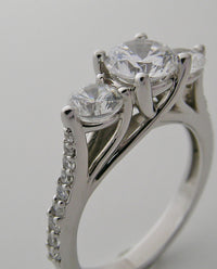 UNIQUE THREE STONE DIAMOND RING SETTING