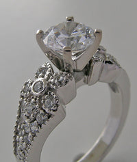 ENGAGEMENT RING SETTING OR REMOUNT FEMININE PAVE DIAMOND DETAILING