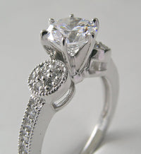 FEMININE MIL GRAINED DIAMOND ENGAGEMENT RE-MOUNT RING SETTING