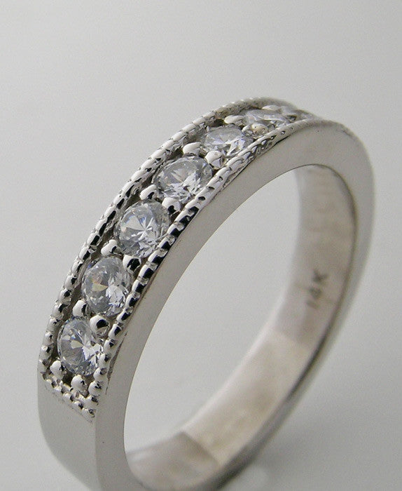 14K Diamond Half Round Eternity Band