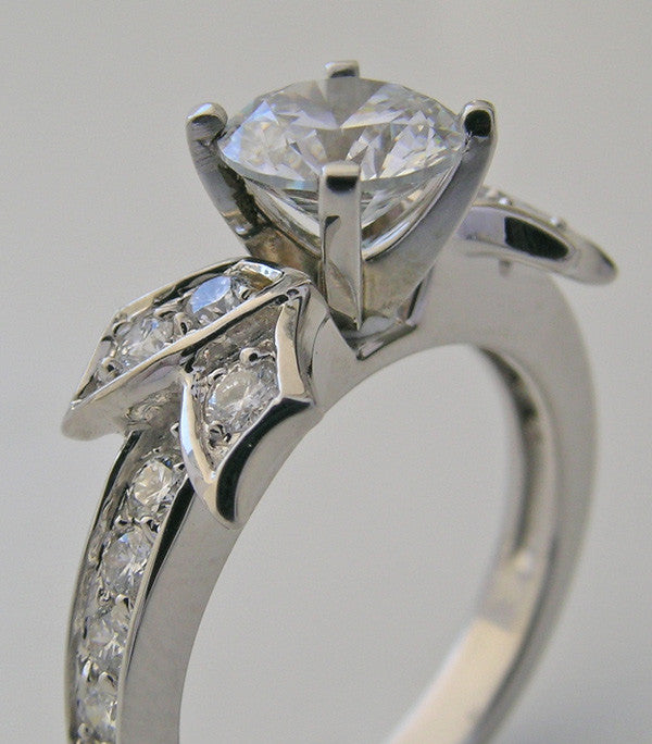 UNUSUAL FEMININE DIAMOND BOW STYLE ENGAGEMENT RING SETTING