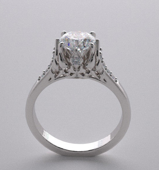 Platinum Designer Crown Motif Engagement Ring Setting with Accent Diamonds