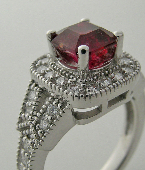 UNUSUAL RUBY 2.12 CT AND DIAMOND ENGAGEMENT 14K RING