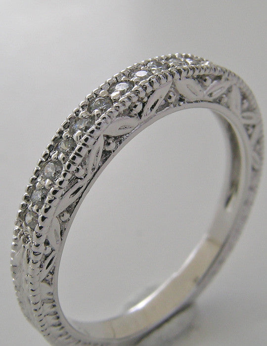 FEMININE MIL GRAIN DIAMOND ENGRAVED WEDDING ANNIVERSARY RING BAND
