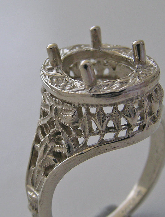 14K Antique Art Deco Style Filigree Engagement Ring Setting