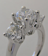 Three Stone Engagement Ring Setting for Round Diamonds