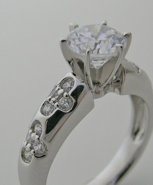 White Gold Diamond Ring Setting With Floral Diamonds