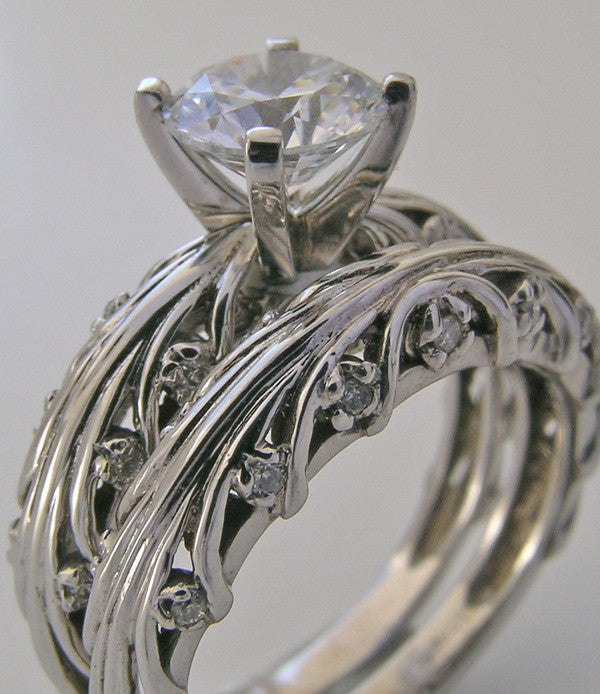 ENTWINED BRANCH DESIGN DIAMOND ACCENT ENGAGEMENT RING SETTING AND WEDDING RING BAND SET