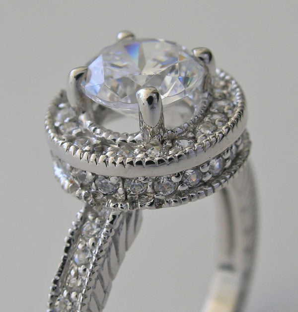 TRENDY HALO DIAMOND ACCENT ENGAGEMENT RING SETTING