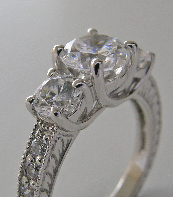 GRACEFUL THREE STONE DIAMOND ENGAGEMENT RING SETTING