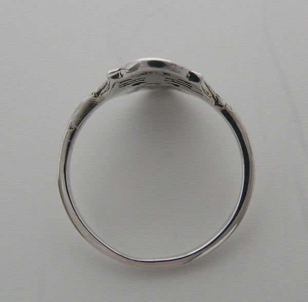 VINTAGE STYLE 14K WHITE GOLD DINNER RING SETTING