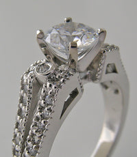 LAVISH ENGAGEMENT RING SETTING  FEMININE DESIGN AND DIAMOND DETAIL ACCENTS