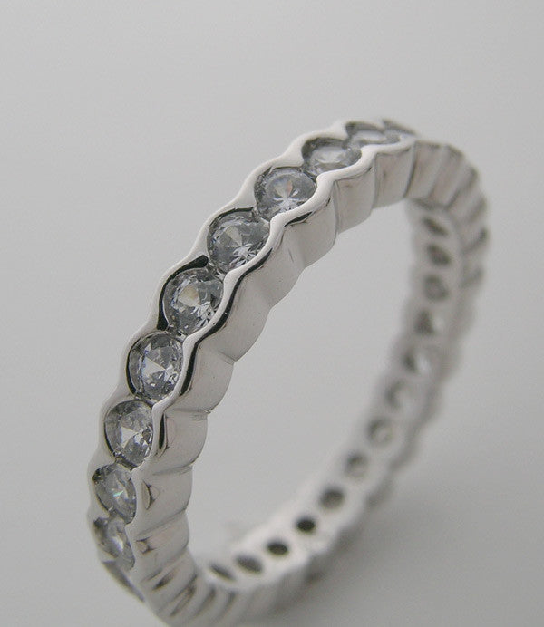 UNIQUE SCALLOPED EDGE DIAMOND ETERNITY ANNIVERSARY RING WEDDING BAND