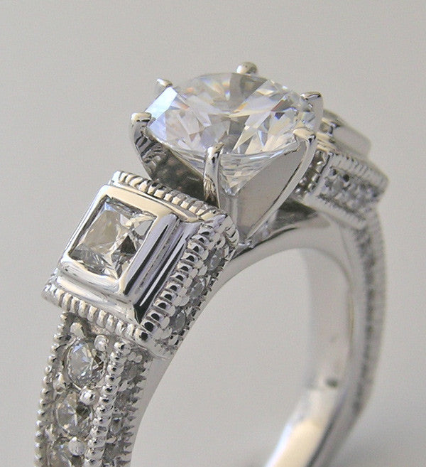 IMPORTANT ENGAGEMENT OR REMOUNT RING SETTING INTERESTING DIAMOND ACCENTS