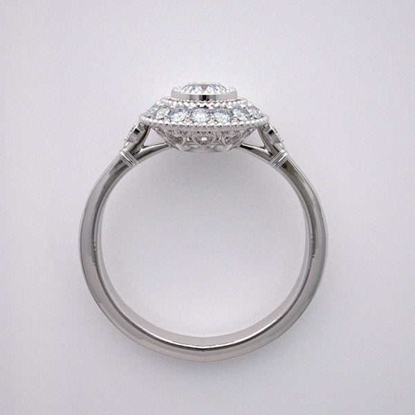 HALO MIL GRAIN  ENGAGEMENT RING SETTINGS  DIAMOND ACCENT