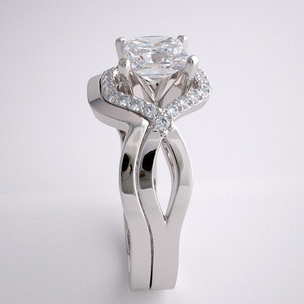GEOMETRIC ENGAGEMENT RING SETTING AND MATCHING WEDDING RING ARCHITECTURAL DESIGN