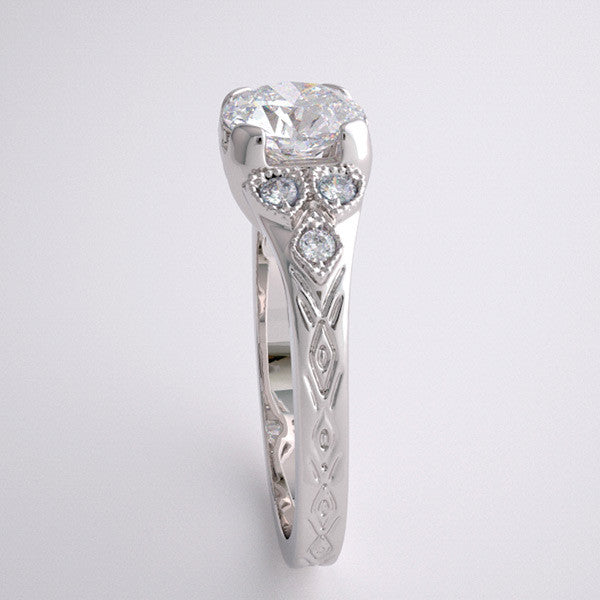 Platinum Art Deco style engagement ring setting for a round shape 1.00 Carat Diamond