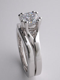 ELEGANT HIGH POLISHED SPLIT SHANK ENGAGEMENT RING SETTING AND MATCHING WEDDING BAND SET