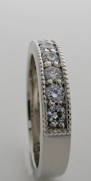 Gold Diamond and Milgrain Wedding Ring