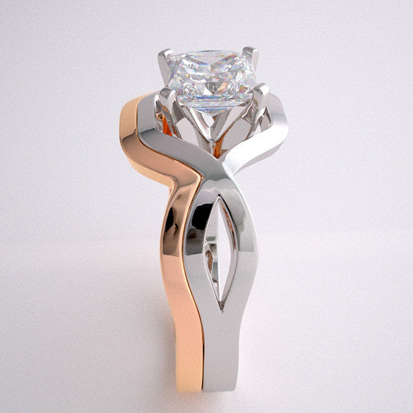 GEOMETRIC DECO STYLE DESIGN TWO TONE GOLD ENGAGEMENT RING SETTING  SET WITHOUT STONES