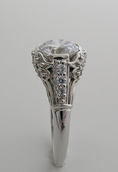 Creative White Gold Ring Setting with Diamond Accents