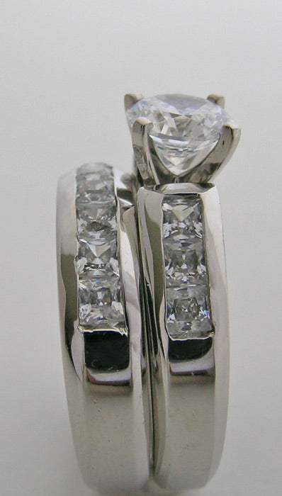 OUTSTANDING PRINCESS CUT DIAMOND BRIDAL RING SETTING SET