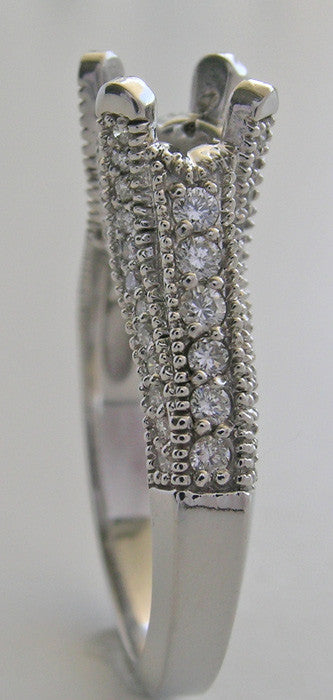 RING SETTINGS ANTIQUE ART DECO STYLE  MIL GRAIN DIAMOND ACCENTS