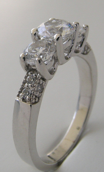 LOVELY THREE STONE DIAMOND ACCENT ENGAGEMENT OR ANNIVERSARY RING SETTING