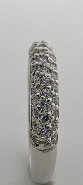 14K WHITE GOLD DIAMOND PAVE WEDDING BAND DOME DESIGN